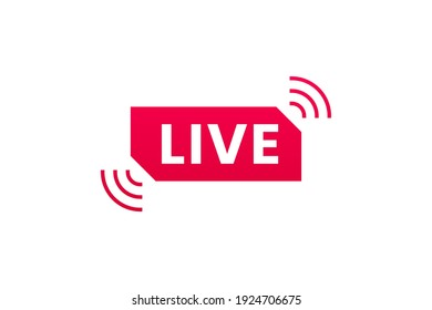Live streaming icon. Button for broadcasting, livestream or online stream. Template for tv, online channel, live breaking news, social media