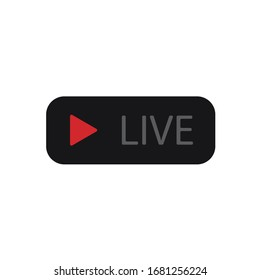 Live streaming icon vector illustration. Red and black symbols and buttons of live streaming, broadcasting, online stream.
