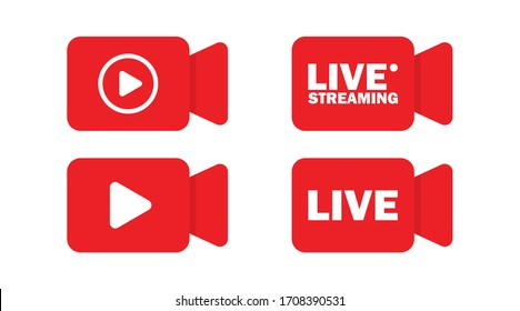 Live streaming icon, vector isolated illustration. Social media web banner