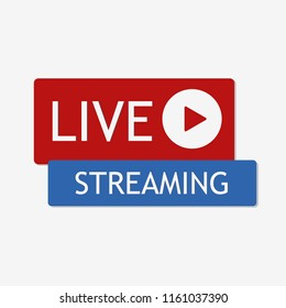 Live streaming icon. Web design. Red button video player. Social media YouTube. Vector. EPS 10.