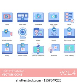 Live streaming icons including upload, editing, screenshot, screen capture, playlist, create new, webcam, vlogger, skip ads, comment on video, rating, closed caption, broadcast, buffering.
