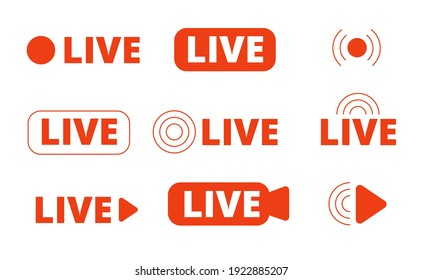 Live streaming icons. Livestream icon, stream broadcast online isolated logo. Internet video signs, utter tv radio or news media vector symbols