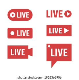 live streaming icons set, online broadcasting signs