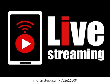 Live streaming logo design element with play button wifi sign and smartphone for news and TV or online broadcasting. Vector illustration.