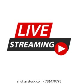 Live streaming logo icon inscription