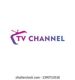Live Streaming, Online Television, Web TV, Simple and Clean Logo Concept, Abstract, Purple, Pink, Blue, Gradation Color, Combination Logo, TV Channel Logo Design Template