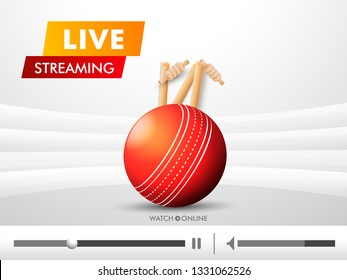 Live Streaming video play illustration with cricket ball and stumps for cricket tournament concept.