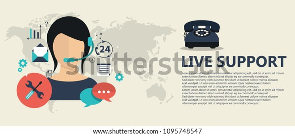 Live Support Banner Business Customer Care Stock Vector