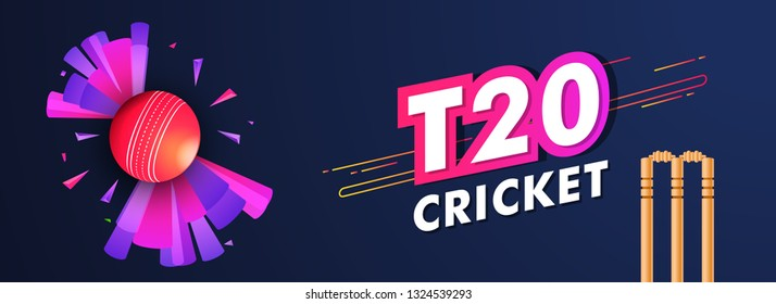 Live T20 cricket header or banner design with cricket ball and wicket stumps illustration on blue background for advertising concept.