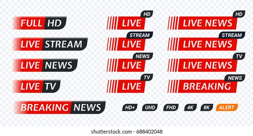 Live TV news red tag icon with video symbol of live broadcasting, full hd, live stream. Black tag labels of hd, uhd, fhd, 4k, 8k. Vector user interface design for video blog