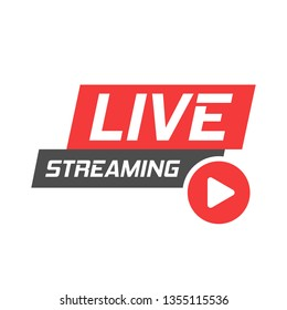 Live video icon in flat style. Streaming tv vector illustration on white isolated background. Broadcast business concept.