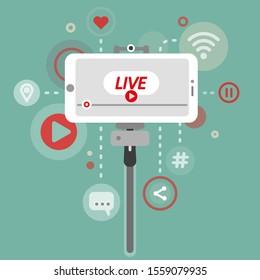 Live video streaming on smartphone. Online bolgging. Vector illustration