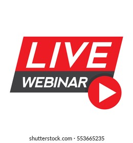 Live Webinar Button, icon, emblem, label - vector design