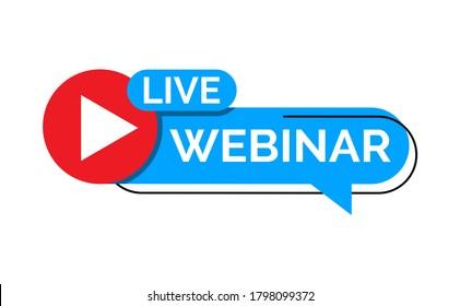 live webinar button, icon, sign, logo, emblem, label, flat design vector illustration. simple and modern style