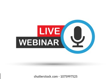 Live Webinar Button, icon. Vector design