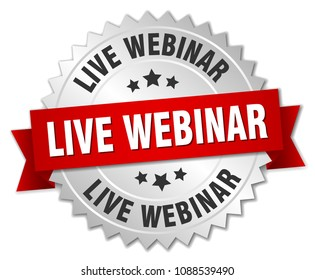 live webinar round isolated silver badge