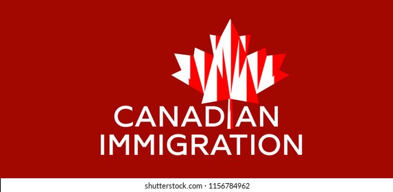 Live work and Study in Canada. Canadian immigration logo vector. Concept of immigration and migration programs, Services and Free Online Evaluation. Red maple leaf from Canada flag.