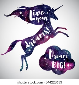 Live your dreams. Watercolor unicorn silhouette, cloud and inspiration motivation quotes. Dream big lettering. Watercolour night sky, stars. Illustration, template for cards, posters.