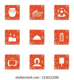 Livelihood icons set. Grunge set of 9 livelihood vector icons for web isolated on white background