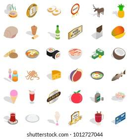 Livelihood icons set. Isometric set of 36 livelihood vector icons for web isolated on white background