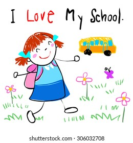 lively girl happy walk to school doodle cartoon vector style