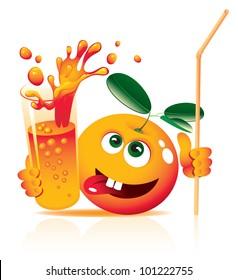 lively orange with glass juice