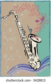 Lively vector art of Saxophone with sketchy, grunge style background.