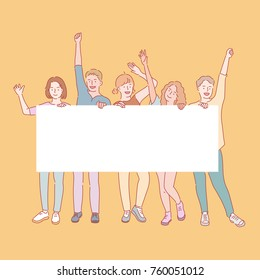 lively young people character hanging a note board, hand drawn illustrations. vector doodle design