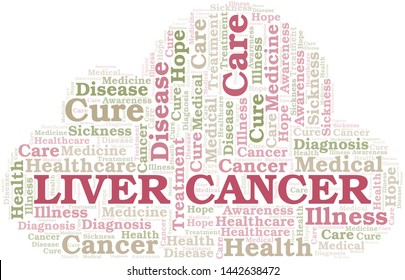 Liver Cancer word cloud. Vector made with text only.