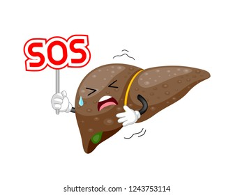Liver cartoon character holding SOS sign. Internal organ requires care or medical treatment due to disease or impact of adverse on health.
