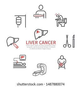Liver Cencer Symptoms banner, poster, advertisement, information, infographic. Causes. Diagnostics. Line icons set. Vector signs for web graphics.