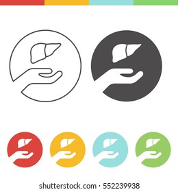 Liver donation vector icons