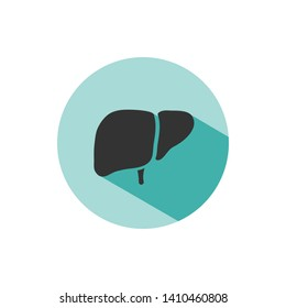 Liver icon with shade on green circle