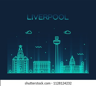 Liverpool city skyline, North West England. Trendy vector illustration, linear style