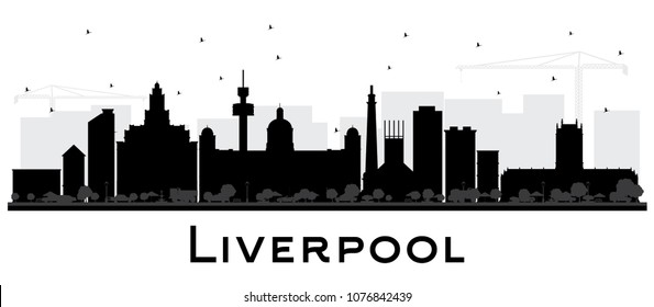 Liverpool City Skyline Silhouette with Black Buildings Isolated on White. Vector Illustration. Business Travel and Tourism Concept with Historic Architecture. Liverpool Cityscape with Landmarks.