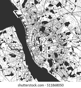 Liverpool Monochrome Map Artprint, Vector Outline Version, ready for color change, Separated On White
