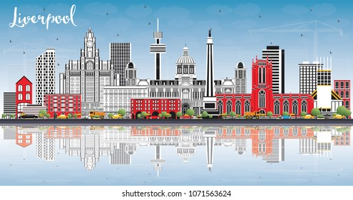 Liverpool Skyline with Color Buildings, Blue Sky and Reflections. Vector Illustration. Business Travel and Tourism Concept with Historic Architecture. Liverpool Cityscape with Landmarks.