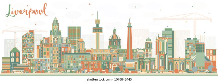 Liverpool Skyline with Color Buildings. Vector Illustration. Business Travel and Tourism Concept with Historic Architecture. Liverpool Cityscape with Landmarks.