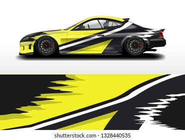 Livery decal car vector , supercar, rally, drift . Graphic abstract stripe racing background .
