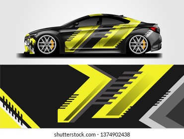 Livery decal car vector , supercar, rally, drift . Graphic abstract stripe racing background . File ready to print and editable .