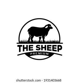 livestock big sheep farm badge minimal premium black logo vector illustration isolated background