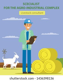 Livestock Consultant. Specialist for Agro-Industrial Complex. Vacancy Agronomist. Search for Colleagues. Roll Hay on Field. Vector Illustration. Management and Organization. Man with Notebook at Farm.