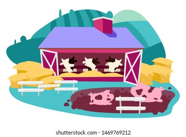 Livestock and dairy farm flat vector illustration. Cattle farming & agricultural animals breeding cartoon concept. Meat production, agribusiness. Cows in cowshed, barn, and pigs. Farmland ranch