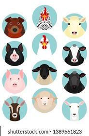 livestock faces round icon set