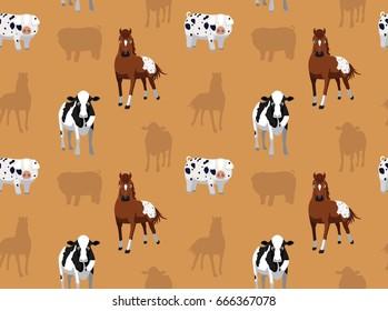 Livestock Farm Animals Seamless Wallpaper 8