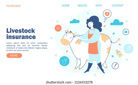 livestock insurance. Concept farmer and cow, insurance against different cases, vector illustration, website template.