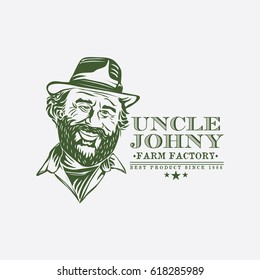 livestock logo with old man icon vector