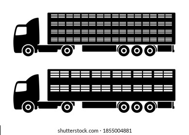 Livestock truck icon. Black silhouette. Side view. Large tractor with semitrailer. Vector flat graphic illustration. The isolated object on a white background. Isolate.