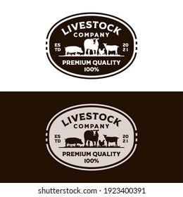 Livestock Vintage Logo Template Vector