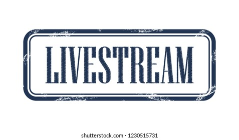 Livestream square grungy stamp Vector illustration